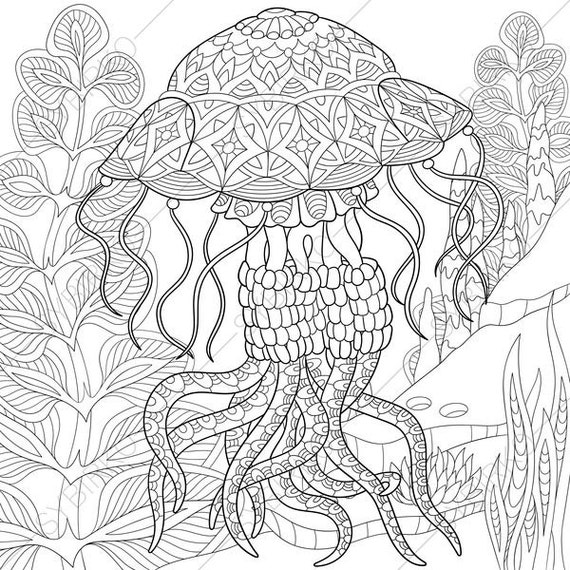 Jellyfish Animal Coloring Pages. Jellyfish  Jelly fish 2 Coloring Pages Animal coloring book pages for Adults Instant Download Print Ocean World
