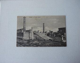 Vintage Italian Postcard, Black and White Postcard Pompei Temple of Apollo, Roman Ruins Collectible Postcard from Italy, Mixed Media 1930