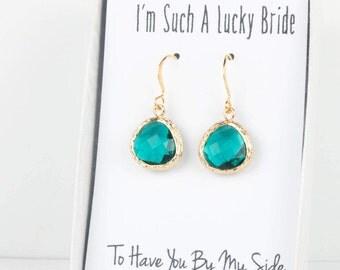 Teal Gold Earrings, Gold Teal Blue Green Earrings, December Gold Earrings, Bridesmaid Jewelry, Teal Wedding Jewelry, Teal Blue Earrings