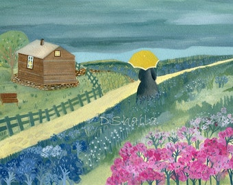 Yellow umbrella (illustration, digital printing Giclee of original painting)