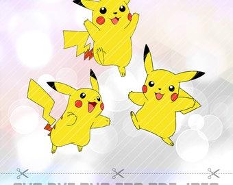 SVG DXF Png Pikachu Pokemon Vector Cut File Cricut Design Silhouette Cameo ScanNcut Stencil Template Decal Vinyl Heat Transfer Iron on Paper