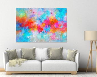Blue Abstract Art Prints, Canvas Prints of Abstract Paintings, Modern Wall Art, Contemporary Art, Cloudy Painting, Minimalist Art Prints