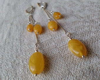 Genuine Baltic Amber Butterscotch Earrings 925 Sterling Silver