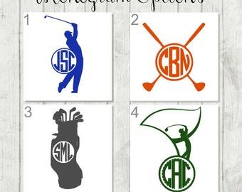 Golf Decal, Golfer Decal, Golf Monogram Decal, Golf Club Decal, Gift for Golfer, Golf Car Decal, Golf Tumbler Decal, Golf Bag Sticker