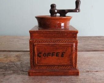 Rare Vintage Brown Coffee Jar with Lid Ceramic Unique coffee jar