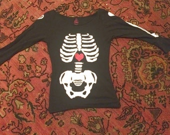 Vintage Betsey Johnson Bag O Bones Skeleton Glitter Heart Intarsia Punk Top Long Sleeve