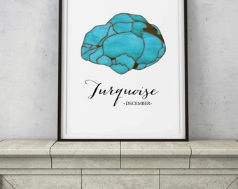 December Birthstone, Turquoise Specimen - Blue Crystal Watercolor - Abstract Modern Wall Decor - PRINTABLE digital art - INSTANT DOWNLOAD