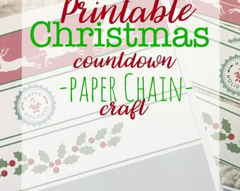Printable Christmas Paper Chain/Garland: Instant Download!!