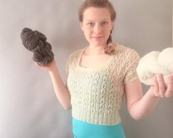 British wool Sweater knitting kit - 150g hand spun locally sourced -  hand spun knitting kit - bleach free un dyed knitting - handspun yarn