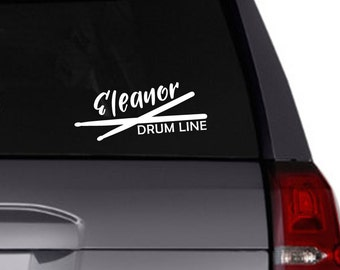 Drum Line vinyl decal/Personalized decal/drummer/drum sticks/band/car decal/tumbler decal/marching band/percussion/personalize