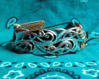 Metal Swirl and Faux Leather Bracelet