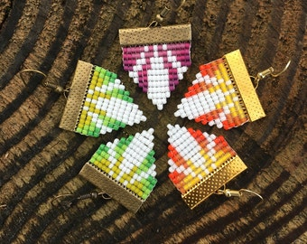 Loom Weave, Unique, Multicolored Earrings - Cathedral