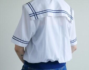 Knit Waist Sailor Collar Blouse