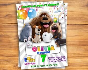Secret Life of Pets Invitation, Secret Life of Pets Invite, Secret Life of Pets Birthday Party, Gidget Invitation, Gidget Invite, Blackboard