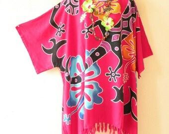 Pink Batik Hibiscus Gecko Plus Size Kaftan Caftan Kimono Beachwear Womens Big Tunic Poncho Blouse Top - 2X, 3X, 4X & 5X