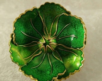 Lovely Two-Tone Green Cloisonne Flower Brooch, Vintage, Made in Germany