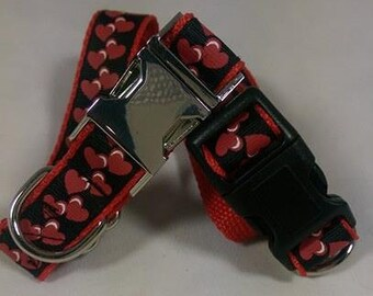 UK Dog Collar,  Red and Black Heart Handmade Design With a Choice of Black Plastic or Silver Coloured Hardware