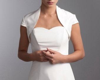 Short sleeve bridal jacket, Wedding taffeta jacket, Short sleeve bridal taffeta jacket
