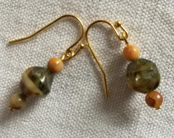 Brown and beige earrings / free shipping