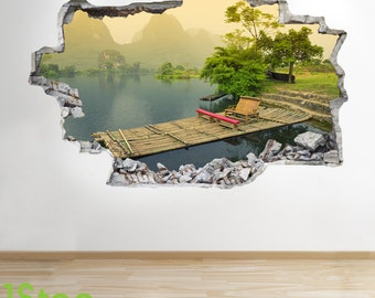 China Mountain River Wall Sticker 3d Look - Bedroom Ancient Wall Decal Z265