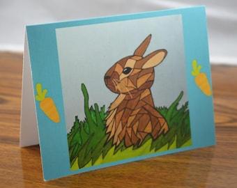 "Spring Rabbits Note Card- Bunnies Greetings Card (Blank Inside)- Original Art Print:  ""Be Hoppy"""