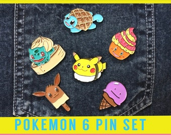 POKEMON PIN SET Enamel Lapel Pin - badge pins brooch foodie boyfriend denim gift Japan japanese pokemon go fanart cosplay costume