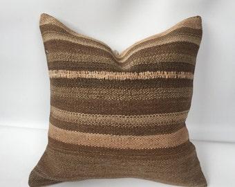 "Turkish kilim pillow,kilim cushion,brown  pillow, kilim pillow, ,20""x20""inch pillows,handmade pillow, home decor,boho pillow"