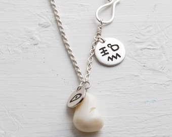 magic necklace, silver chain, white opal, engraved pendant, old script, personal cameo, mantra necklace, modern talisman, good luck stone