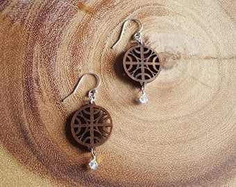 Wood & Crystal Earrings