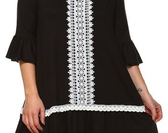 Black Ruffled Lace Tunic