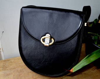 Black Leather Italian Vintage bag made by Baldinini
