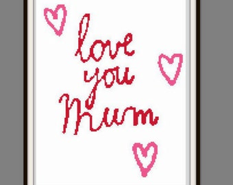 Mothers DayGift Love You Mom PDF Cross Stitch Pattern Instant Download Needlecraft Modern Cross Mothers DayPink Color Sale 50% code: MOM2017