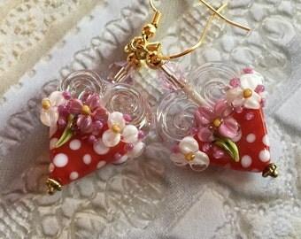 Heart Lampwork Earrings, Red & White Polka Dot Earrings, Lampwork Jewelry,  Mothers Day, Gift For Her, SRA Lampwork Jewelry
