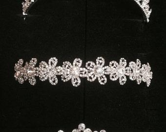 wedding tiara, bride flower hairpiece, headpiece, crown