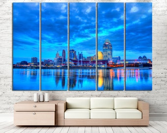 Cincinnati Canvas Print Cincinnati Wall Art Cincinnati Panel Art Cincinnati Cityscape Cincinnati Skyline Cincinnati Skyscraper Canvas Art