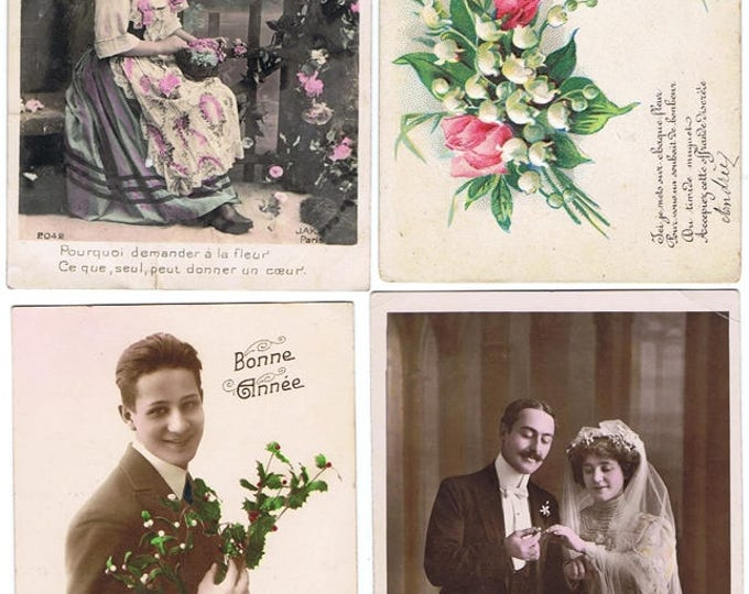 BIG SET 12 Vintage french postcards 1905-1925 - Scrapbook Ephemera -