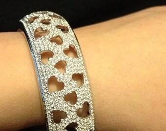 Crystal Bangle, Wedding Bangle, Swarovski Crystal, Rhodium Silver Heart Sparkle, Medium Bridal Bangle Bracelet