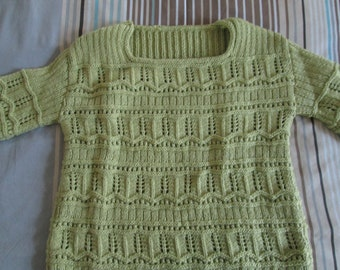 Cotton lime-green long-sleeved sweater