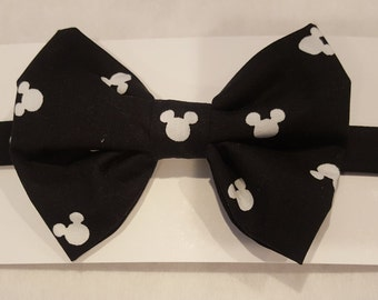 White Mouse Ears on Black blackgroun Bow Tie