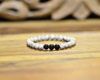 Lava stone + White Howlite gemstone bracelet