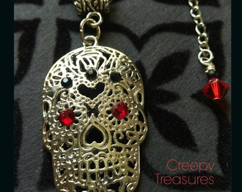 Swarovski Day of the Dead Skull necklace. Silver Plated Cable Chain.