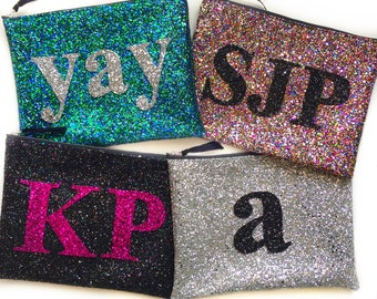 Monogram Clutch Bag, Personalised Glitter Bag, Alphabet Bag, Monogram Clutch, Initial Bag, Personalised Purse, Wedding Clutch, Bridesmaid