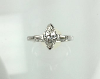 Vintage 1960's Marquise Diamond Engagement Ring .50ct