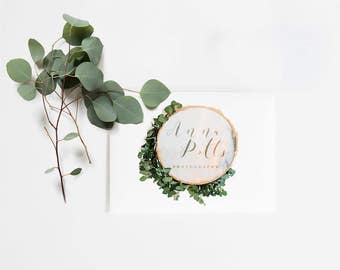 The Greenery Circle Custom Business Photography Logo Gold Watercolor Floral Boho Leaves Green White Tree Fauna Eucalyptus Olive Sage