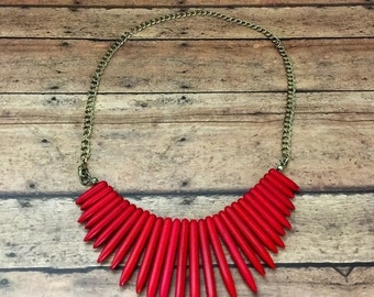 Red Stone Dagger Necklace