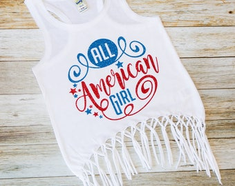 All American Girl - Patriotic Shirt - Fourth of July - July 4th/ Memorial Day Tee - Girls Fringe Tank - Fourth of July Tank -
