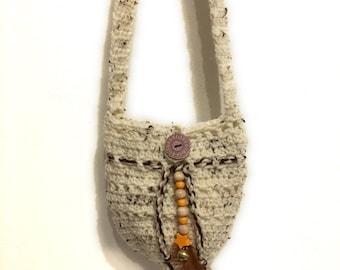 Crocheted bag crochet shoulder bag, natural-coloured, beige bag