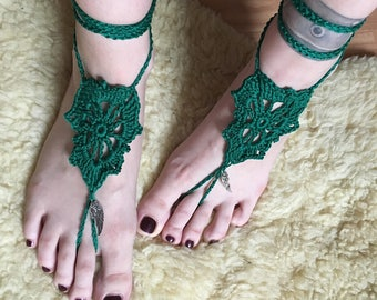 Barefoot sandals, boho, foot jewelry, gehäkte sandals, crocheted foot jewelry