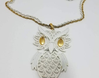 Whimsical White and Gold Owl Pendant Necklace