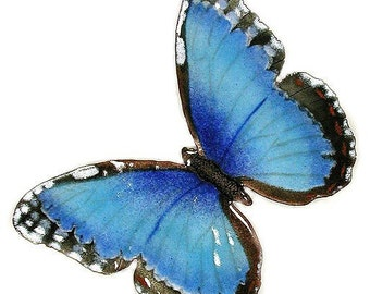 Blue Morpho Butterfly - Glass Enamel (B1)